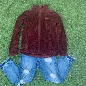 Fuzzy burgundythe north face jacket sm